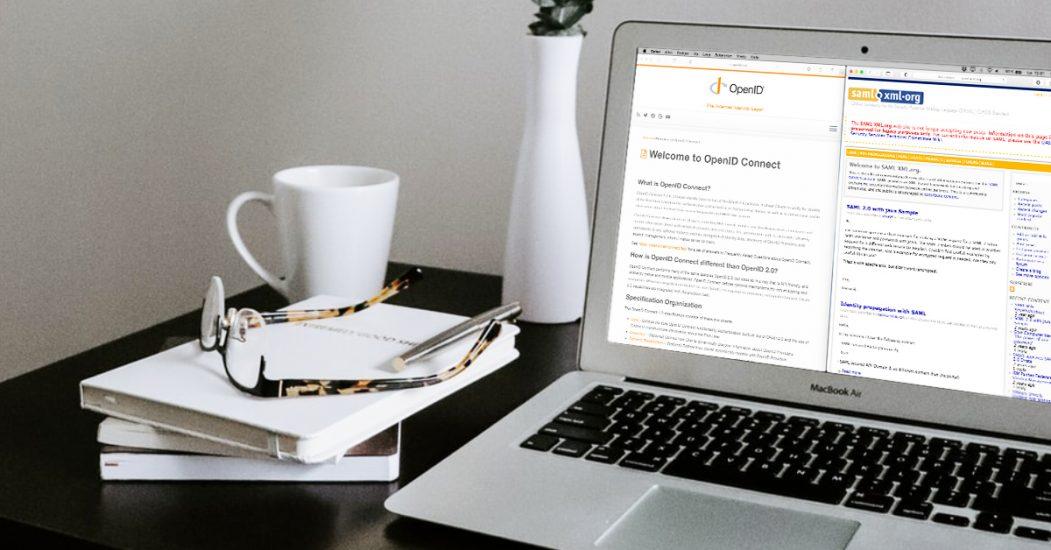 Bilde av laptop med OpenID Connect og saml xml åpnet i skjermleser