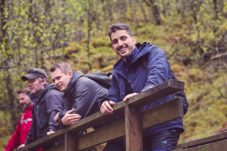 Bilde av Diego, Thomas, Daniel og Rolf på tur til Månafossen