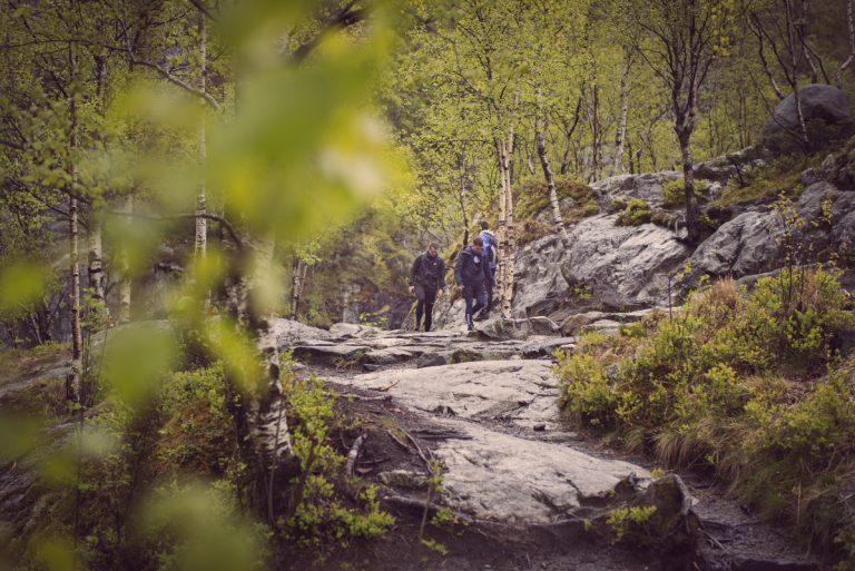 Bilde av turstien til Månafossen med konsulenter fra Miles Stavanger